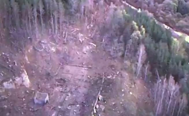 Кадрите от мястото на взрива, заснети от дрона на Министерство на отбраната