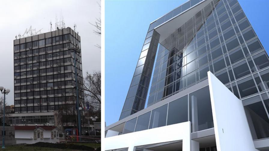 Снимка на сградата на бившия партиен дом и визията на спечелилото архитектурно студио за нова фасада