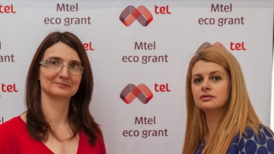 """Директорът на фондация """"Помощ за благотворителността в България"""" Елица Баракова и Илияна Захариева, директор """"Корпоративни комуникации"""" на Мтел, обявиха началото на шестото издание на Мтел еко грант"""
