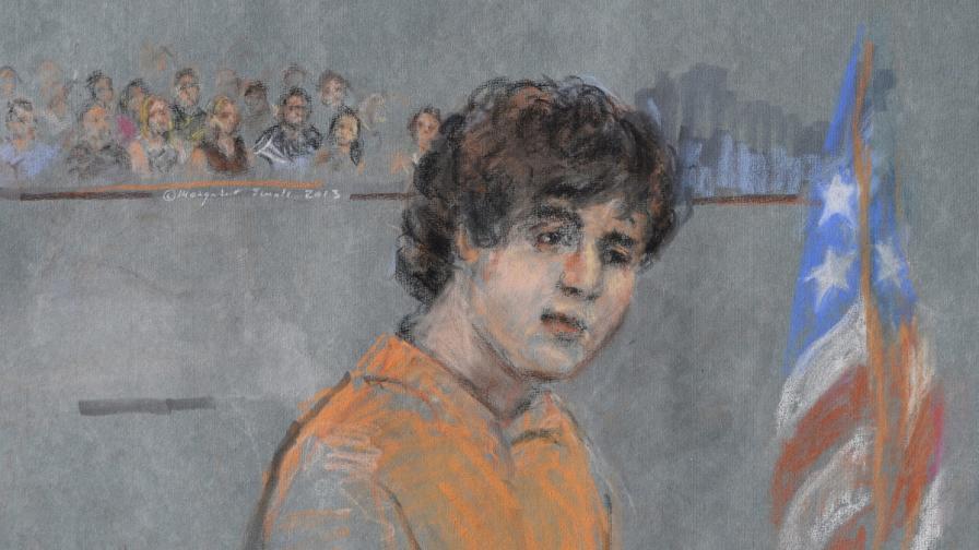 Рисунка на Джохар Царнаев пред съда