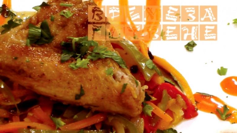 пиле печене основно ястие зеленчуци гъби зелен пипер бяло вино