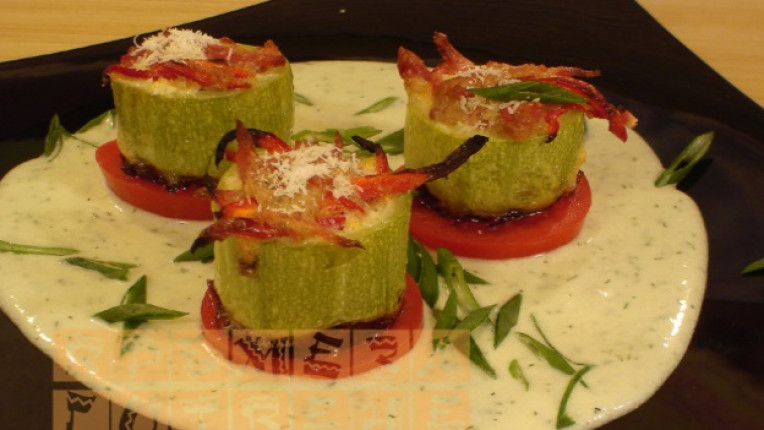 тиквички прошуто шунка плънка печене пармезан домат