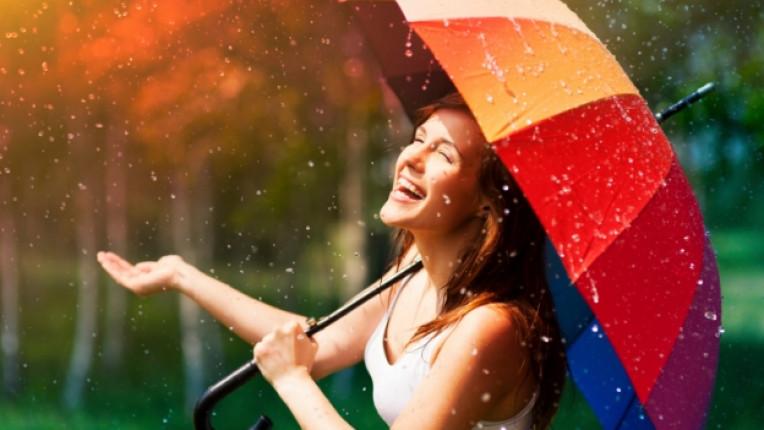 жена чадър време щастие дъжд