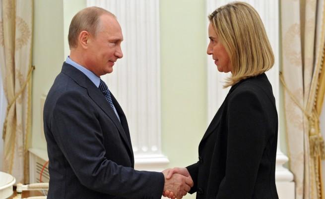 Федерика Могерини и Владимир Путин