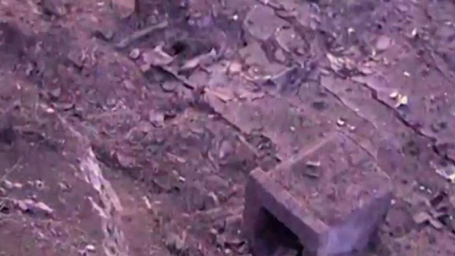 Кадър от взривения цех, заснет от безпилотния самолет на МВР