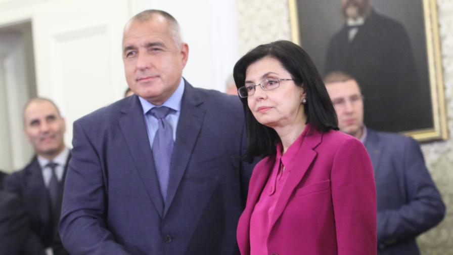 Премиерът Бойко Борисов и вицепремиерът Меглена Кунева