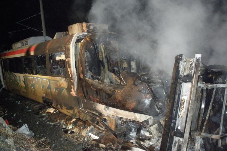 влак инцидент запали