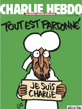 Първата страница на броя на Шарли ебдо, които ще излезе след нападенията
