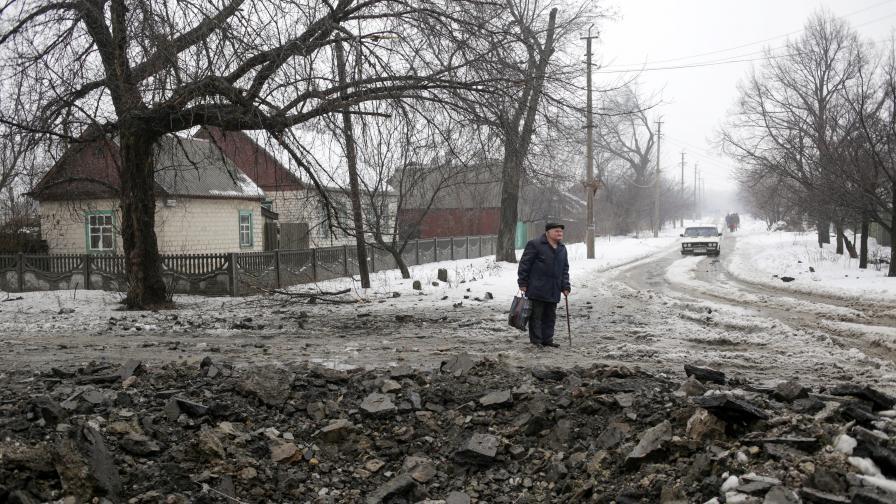 Разрушения от военните действия в Дебалцево