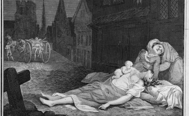 """Рисунка на ужасяващата чума в Лондон. Членовете на семейство лежат мъртви или умиращи на улицата, докато каруца отнася телата, които вече са се предали на """"Черната смърт"""""""