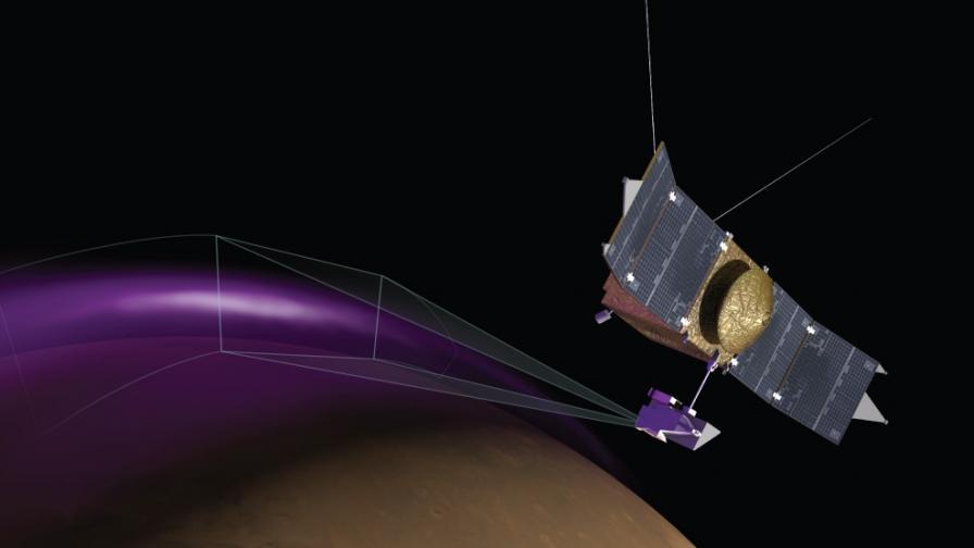 """""""Мейвън"""" откри мистериозно полярно сияние на Марс"""