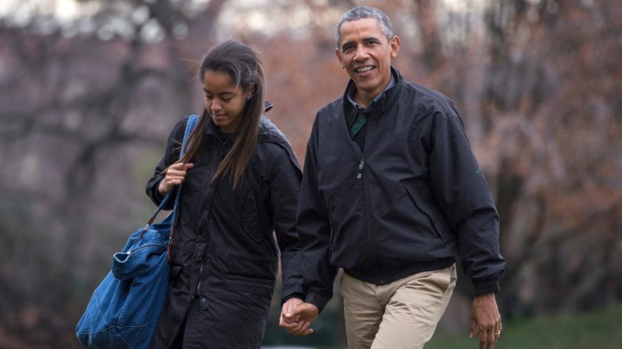 Малия Обама с баща си Барак