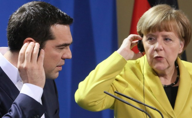 Гръцкият премиер Алексис Ципрас и германската канцлерка Ангела Меркел