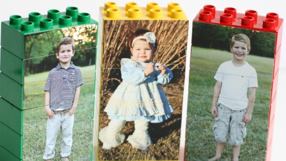 Пъзел от лего с детска снимка