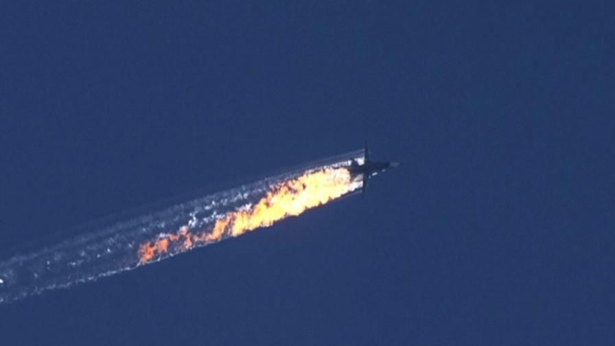 Горящият Су-24 - кадри от тв канал ХаберТюрк ТВ