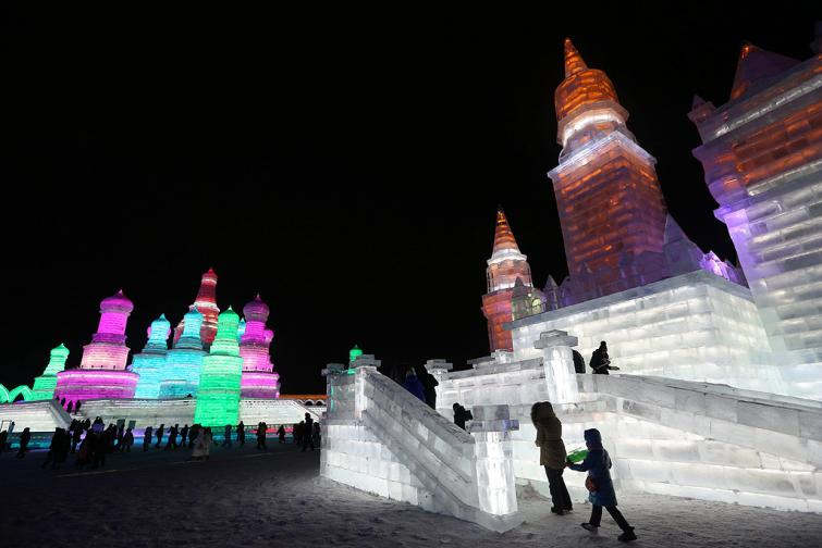 сняг лед скулптури харбин