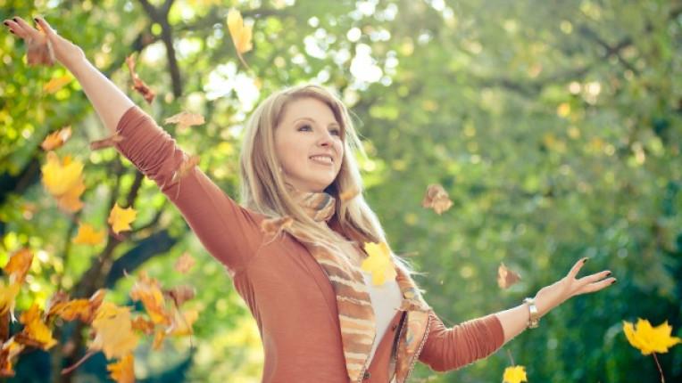 есен листа жена щастие гора