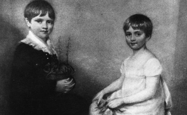 Чарлз Дарвин със сестра си Катрин