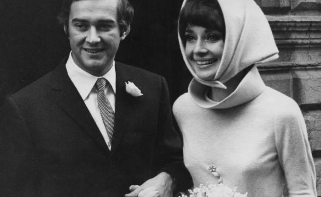 Одри Хепбърн на сватбата с втория си съпруг - италиянският психиатър Андреа Доти