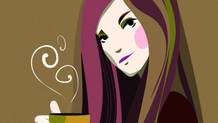 чай жена рисунка чаша