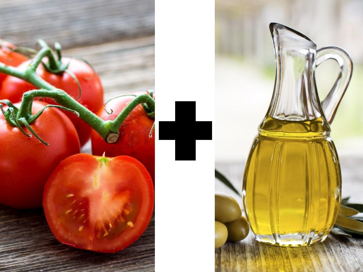 Подправянето на доматите със зехтин улеснява усвояването на каротиноидите в тях. За целта са необходими 3 до 5 гр мазнини. Каротиноидите, които са характерни за оранжевите и червените храни, са антиоксиданти и предпазват от болести.