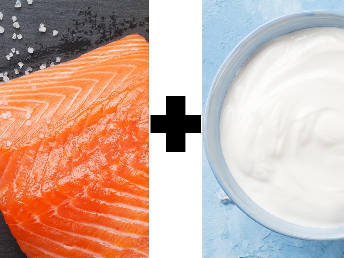 Отлична комбинация е сьомга със сметана. Сьомгата е сред малкото храни, съдържащи вит. D. Той улеснява усвояването на калций, на който е богата сметаната.