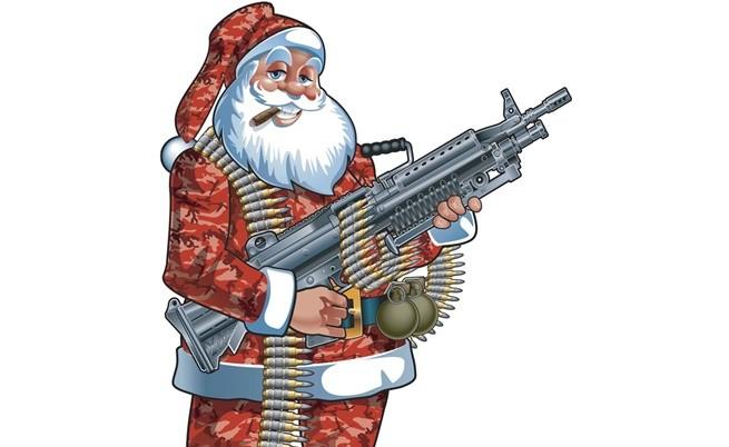 Дядо Коледа идва в града с чувал с подаръци и пушка на рамо