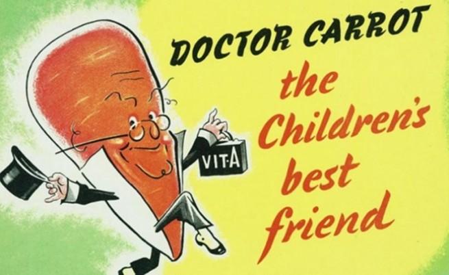 Д-р Морков - най-добрият приятел на децата по време на пропагандната кампания от Втората световна война