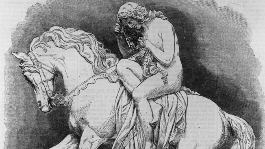 Лейди Годайва гола върху кон, за да накара съпруга ѝ да намали данъците на гражданите на Ковънтри.