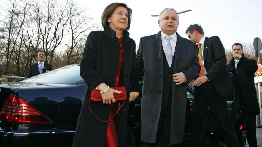 Президенът на Полша Лех Качински и съпругата му Мария, която също загива в самолетната каастрофа