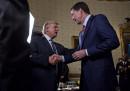 Доналд Тръмп и Джеймс Коми по време на среща в Белия дом в края на януари.