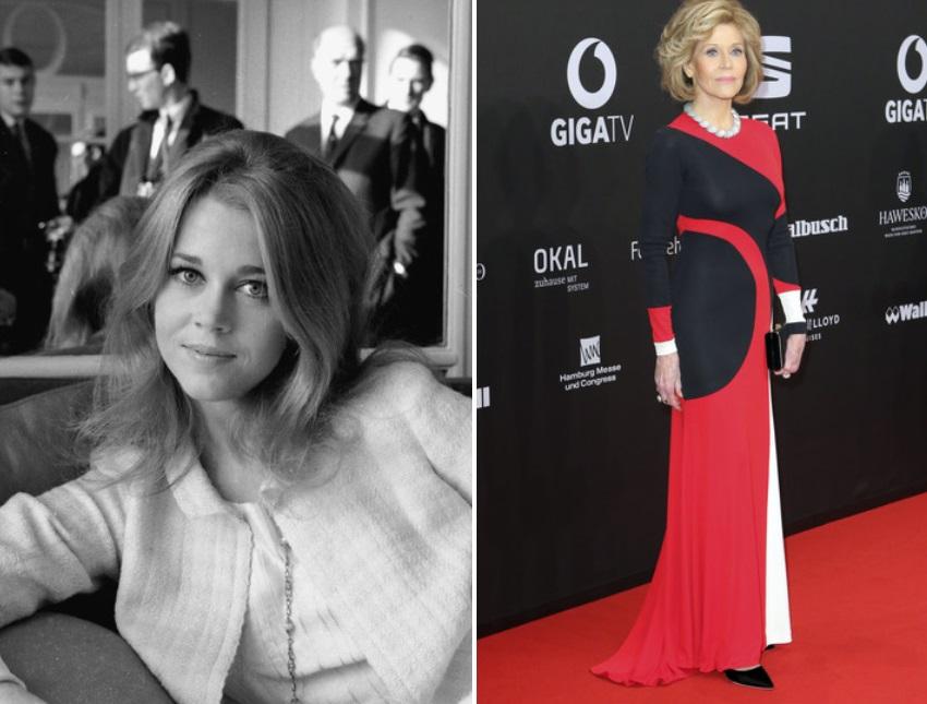 Американската актриса Джейн Фонда през 1965 г. и в днешно време