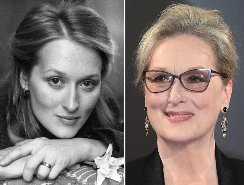 Мерил Стрийп през 1980 г. и днес.