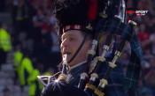 Въздействащите химни на Шотландия и Англия преди битката помежду им