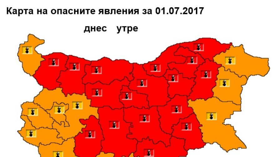 Опасни горещини в събота, очакват до 44 градуса