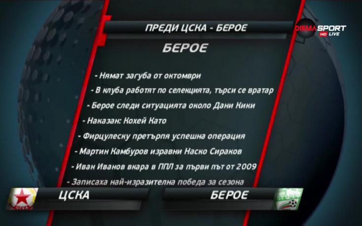 ЦСКА отново гледа към върха, Берое на пътя на