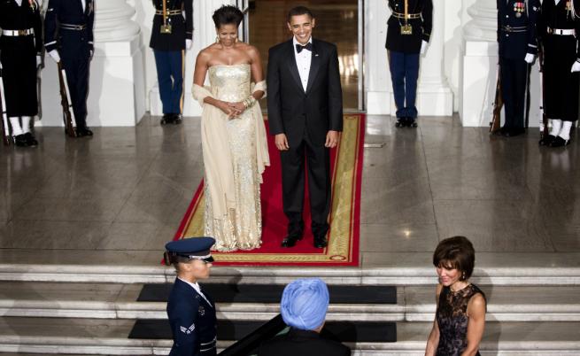 Мишел и Барак Обама на първата държава вечеря в чест на Индия (2009 г.)