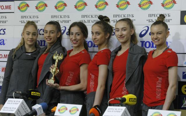 Състезателките от националния ансамбъл на България по художествена гимнастика за