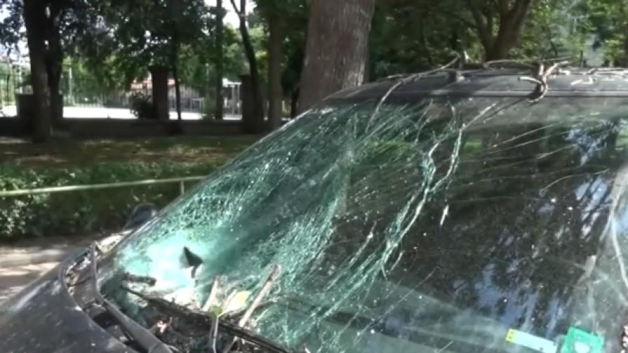 5 смачкани коли след бурята в Пловдив, ще продължи ли да вали