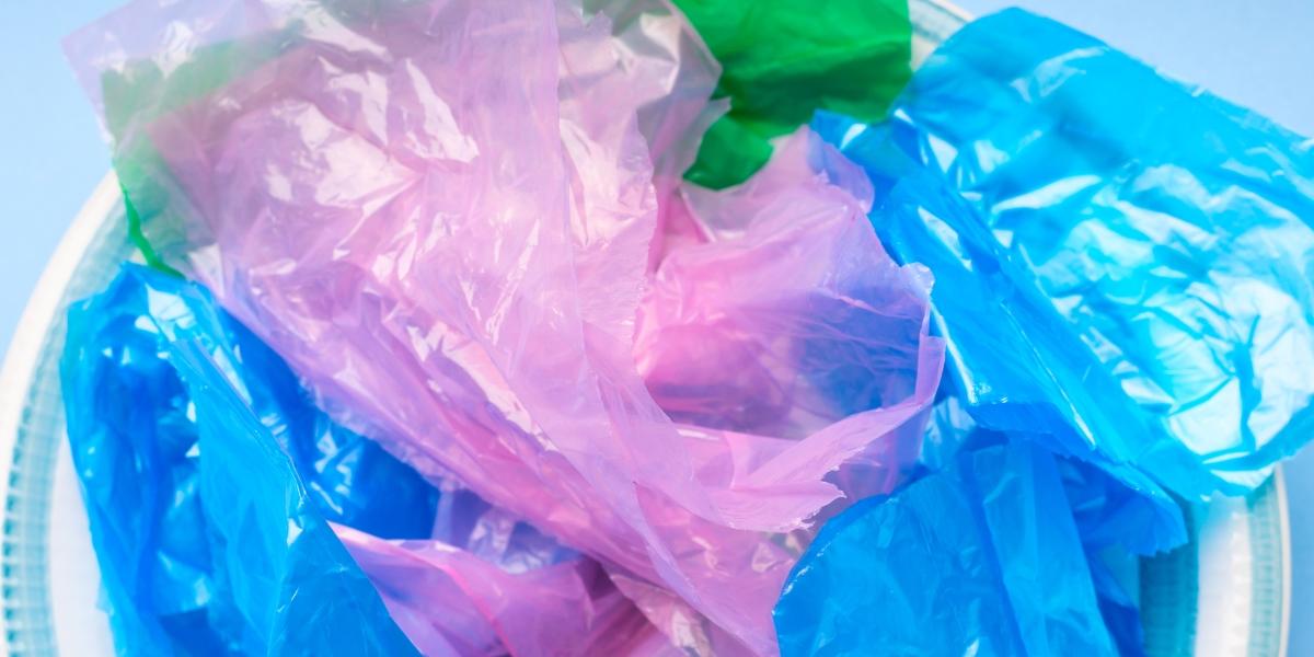 Колекцията от найлонови торбички. Можете да ги замените с платнени.