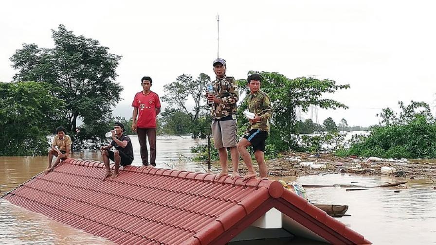 Потоп и жертви в Лаос, 5 млрд. кубика вода се изсипаха