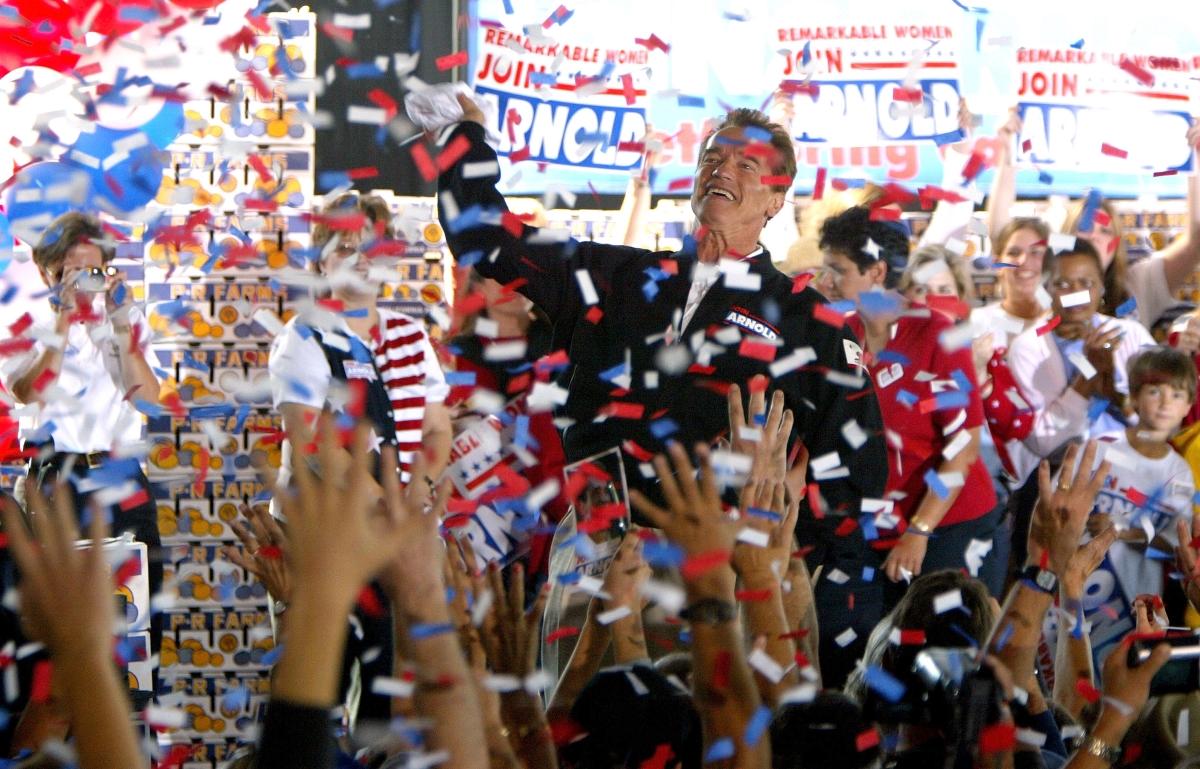 """Арнолд Шварценегер по време на предизборната му кампания за губернатор на щата """"Калифорния"""""""