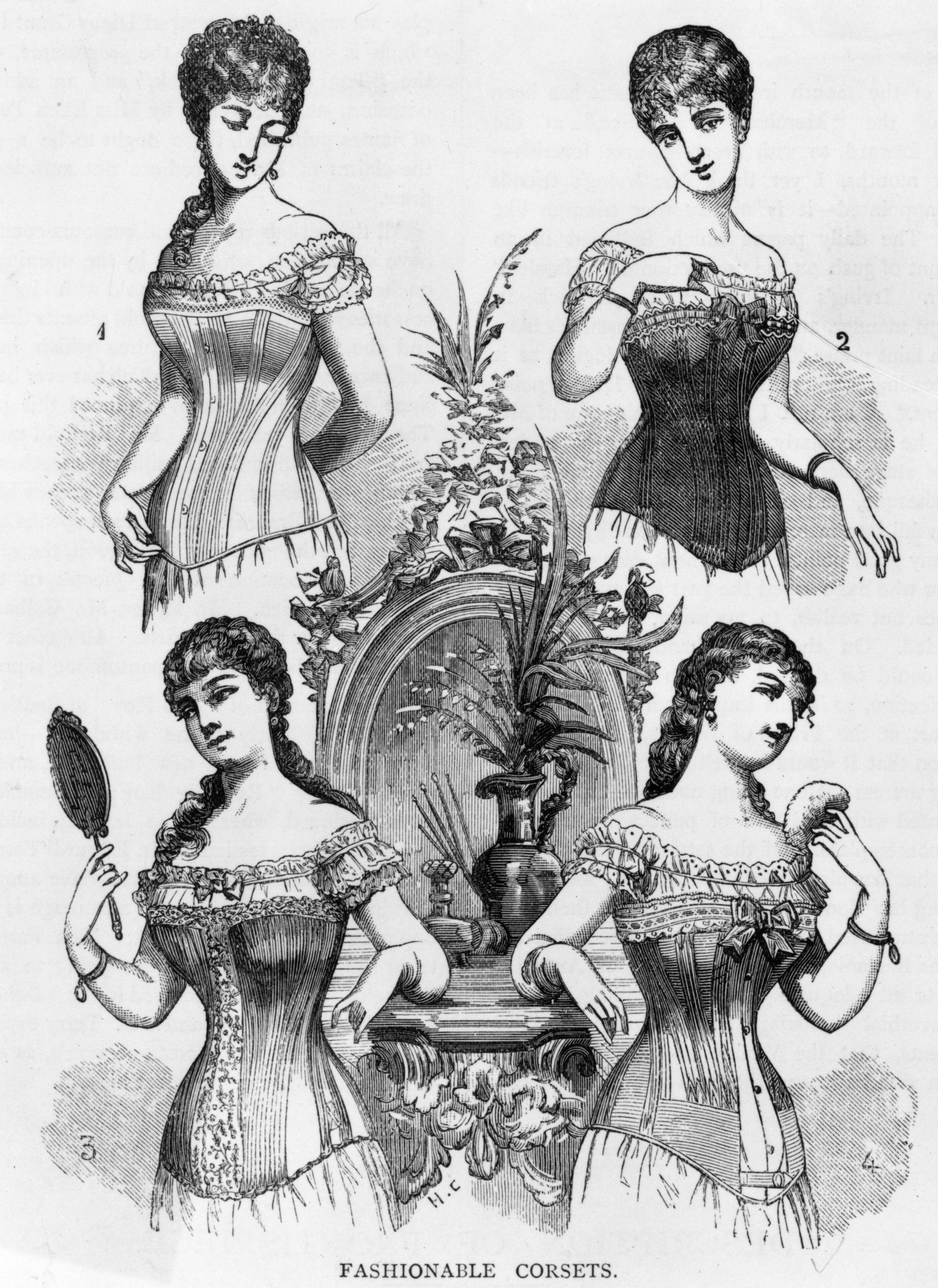 Корсетът и припадъците. Да, дамите в Европа получавали чести припадъци, поради недостиг на кислород, причинен от пристегнатите корсети. Допълнително - те причинявали деформации на гръдния кош.