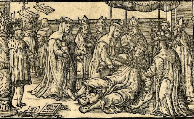 Папеса Йоана ражда, илюстрация, Страсбург 1593 г.