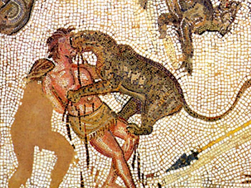 На римските арени тълпите от хора гледали как престъпници, завързани за люлка, биват изяждани от диви животни. Единият от престъпниците бил завързван ниско, при лъвовете, а другият по-високо.