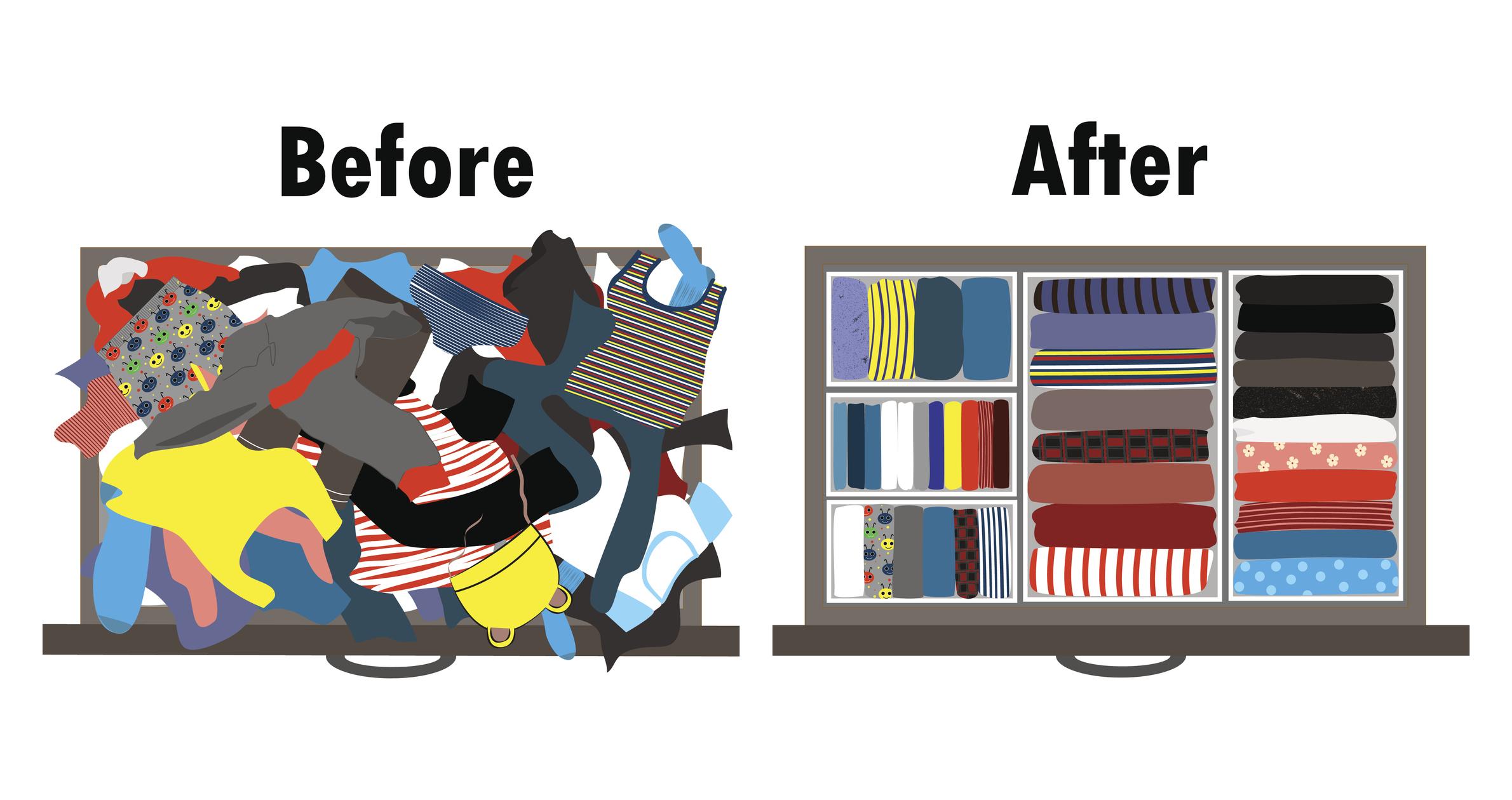 Използвайте контейнери или разделите, в които да сложите дрехи, чорапи или аксесоари. Всичко е подредено и видно пред очите.