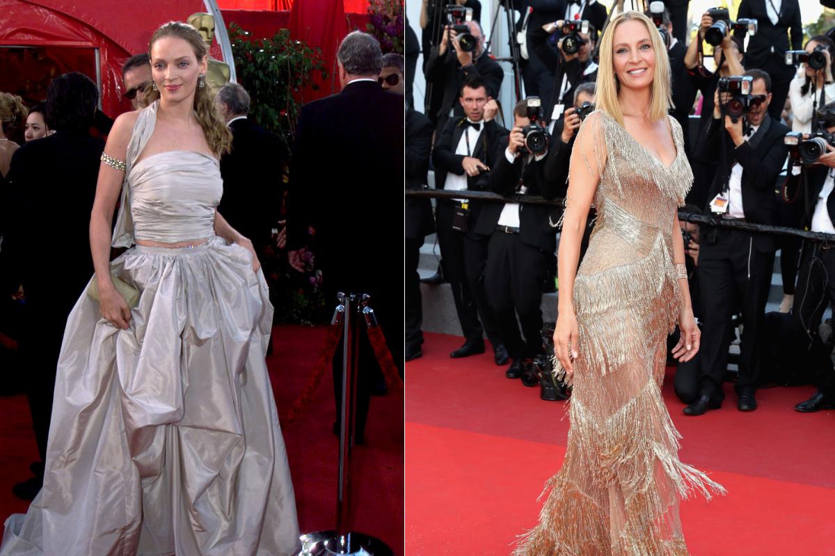 """Ума Търман и шармантната ѝ рокля от """"Оскар""""-ите през 1999 г. Миналата година тя изгря на кинофестивала в Кан цялата в златно."""