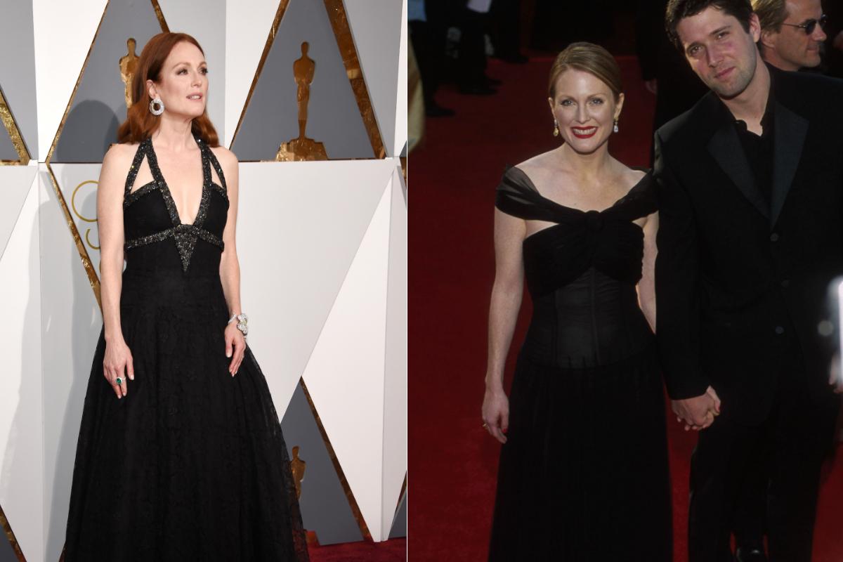 """Джулиан Мур и класическото черно, подходящо за всички поводи. Снимките на актрисата са от последната ѝ поява на """"Оскар""""-ите през 2016 г. и през 2000 г., когато отива на церемонията със своя тогавашен приятел."""