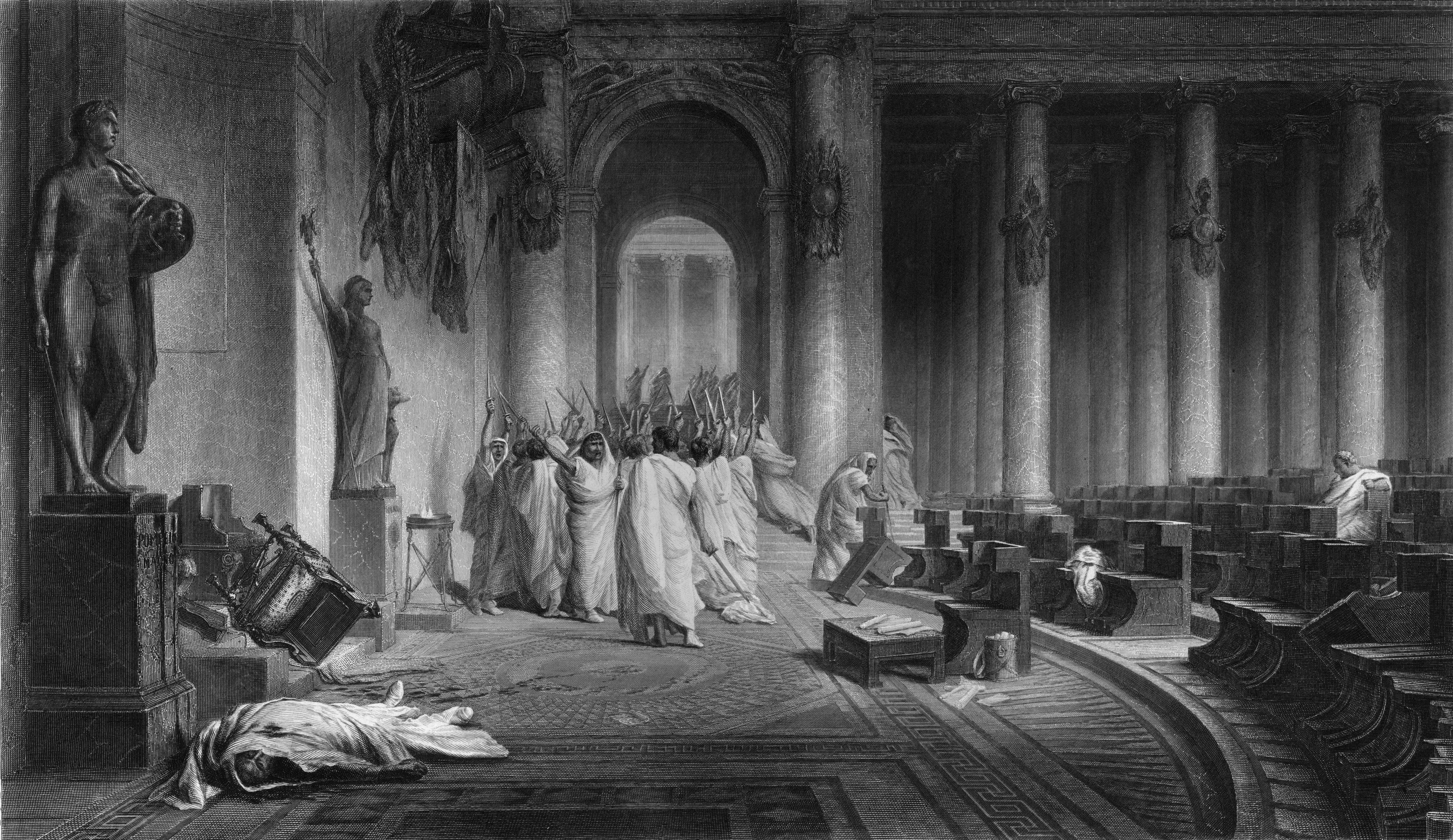 Конспираторите правят засада на Цезар на пода на Сената, 60 мъже се нахвърлят и го намушкват 23 пъти. Говори се, че в последните мигове от живота си императорът дръпнал тогата си над главата си, неспособен да понесе погледа на Брут.<br /> <br /> Ако убийците на Цезар са смятали, че спасяват Републиката, жестоко са се лъгали. Смъртта на героя на хората довежда огромен брой мъже под знамената на Октавий, племенник и осиновен син на Цезар, който събира армия и флота, за да отмъсти на заговорниците, а след това се обръща срещу съюзника си Марк Антоний. Междувременно в Рим избухва гражданска война. След края на кръвопролитието много велики мъже са мъртви, Октавий става император, който обаче слага края на Римската република след 500-годишно съществуване.