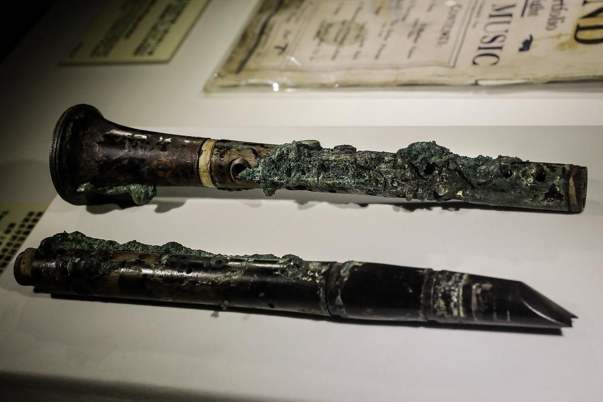 Кларинет, който е принадлежал на един от музикантите на кораба .